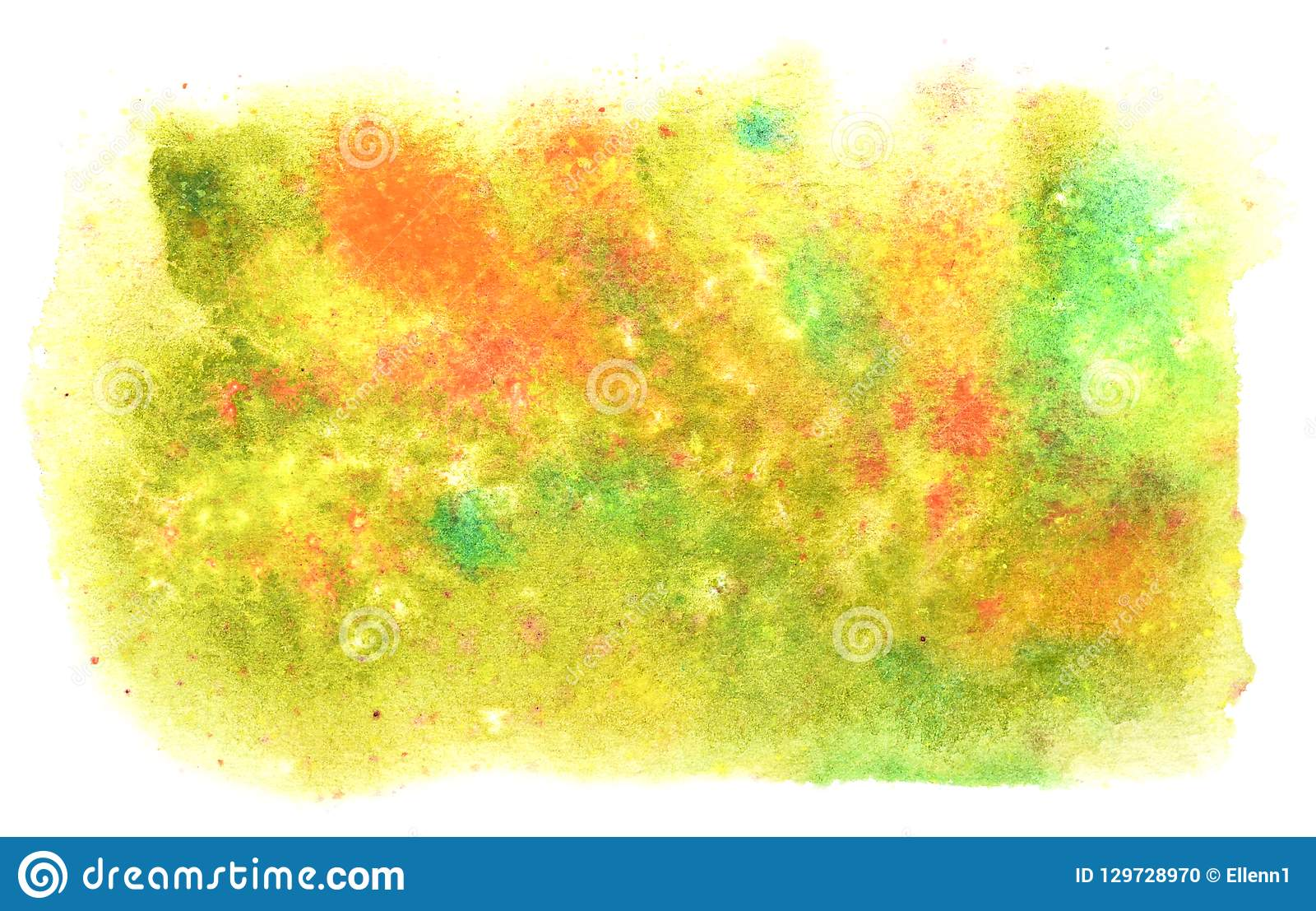 Beautiful autumn watercolor background. Yellow, green, red color
