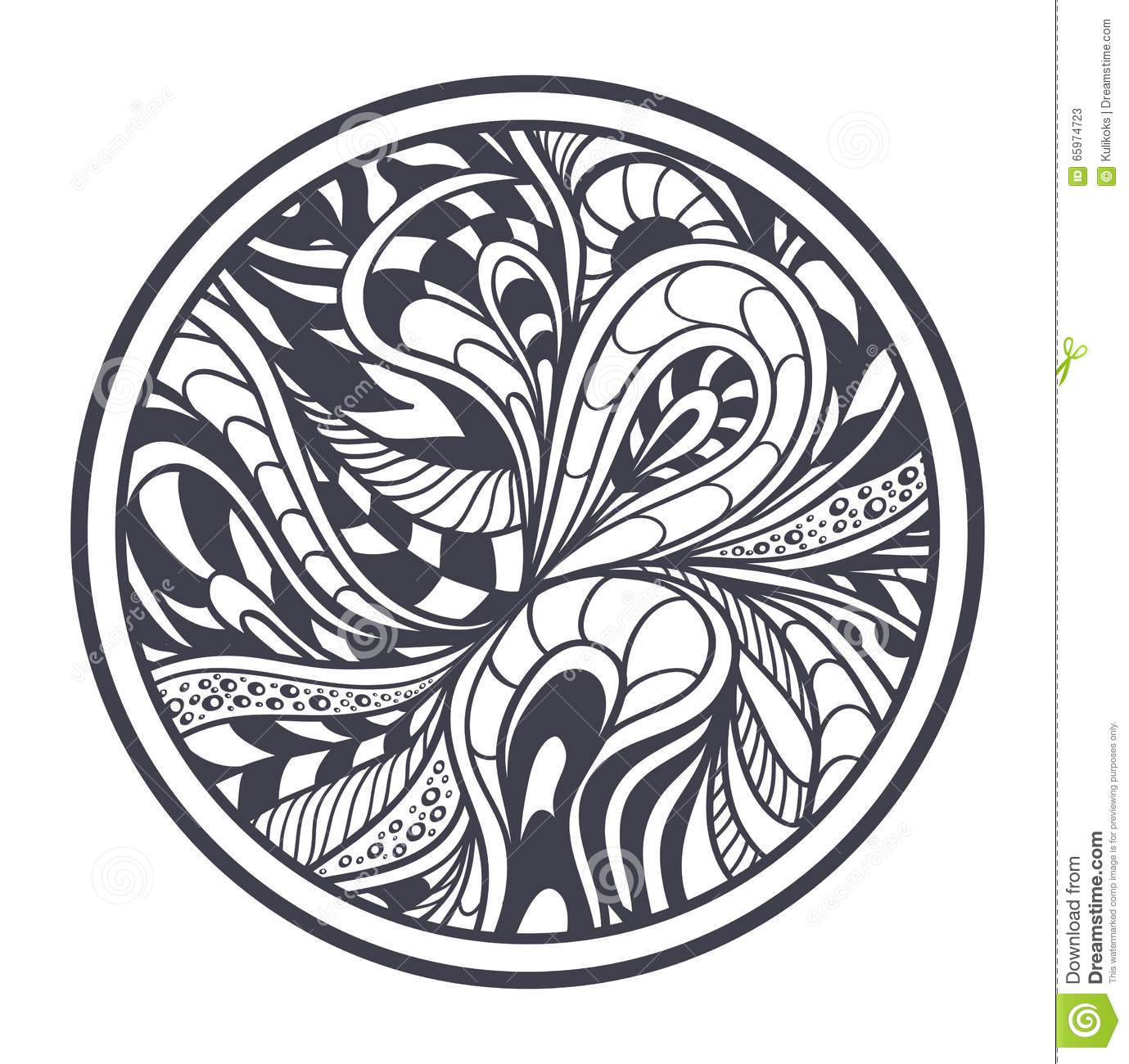 Abstract Circle Coloring Pages : Abstract background in zen tangle doodle style black