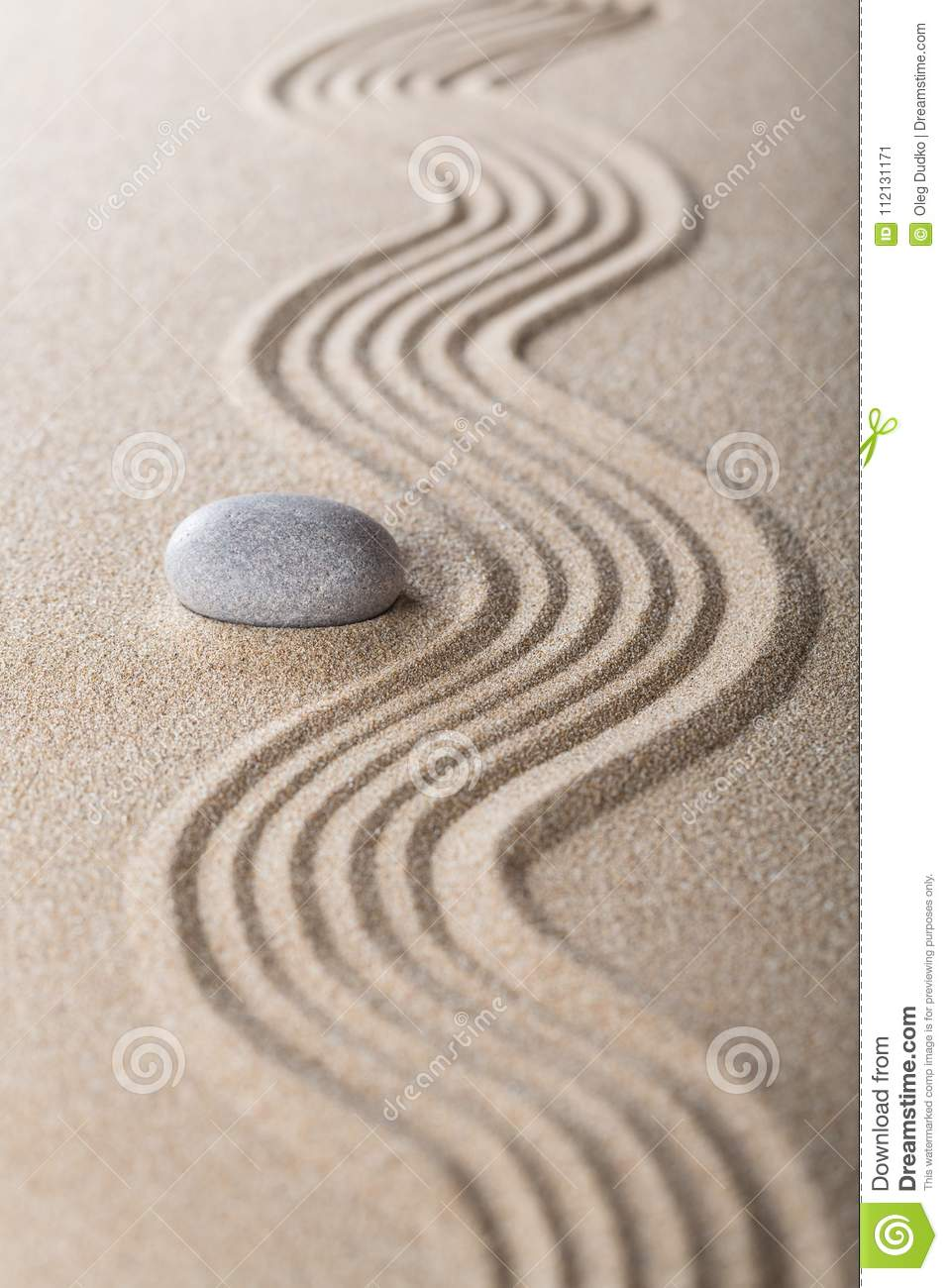 Zen Garden With Raked Sand And A Smooth Stone Stock Image Image
