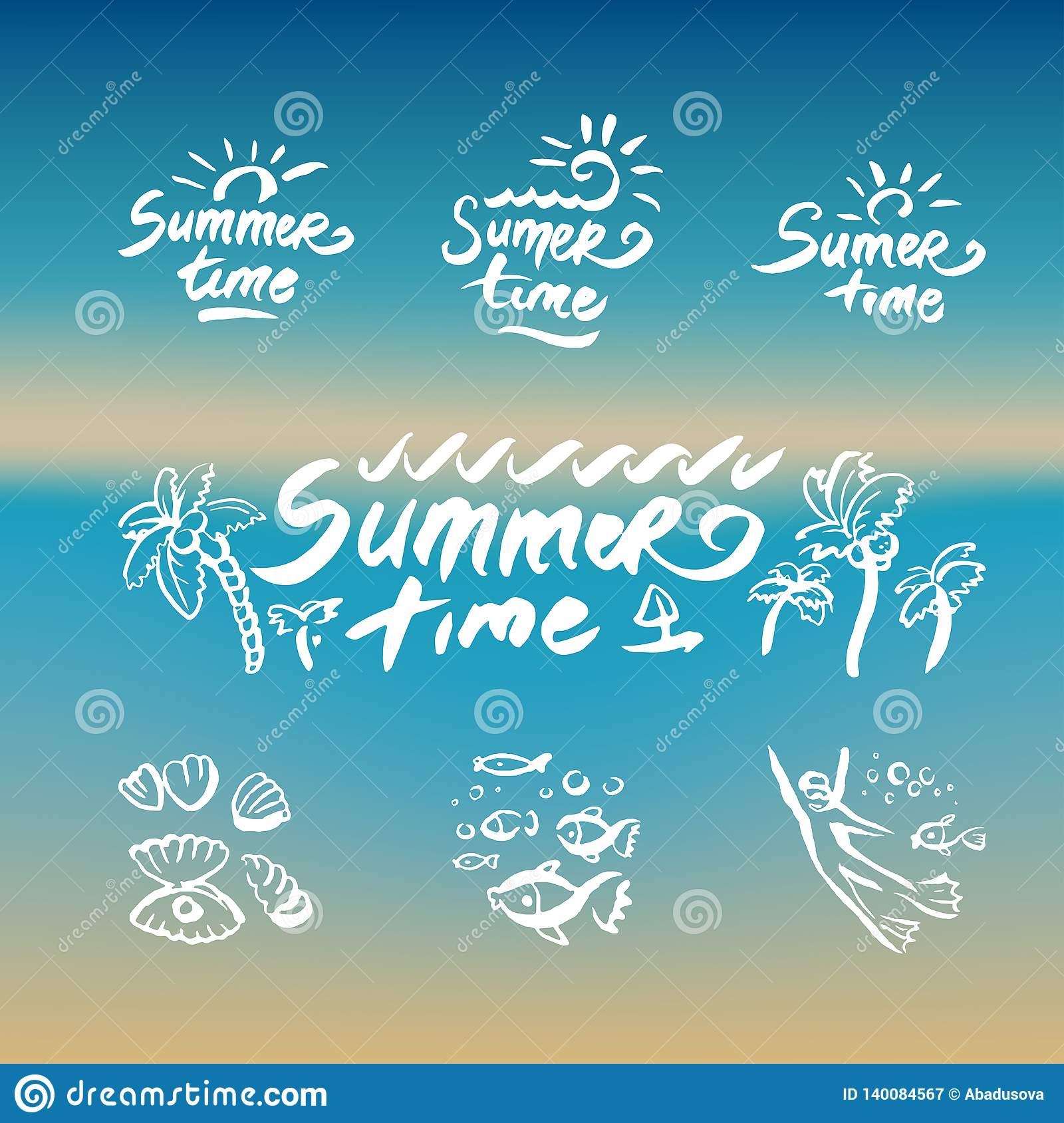 Abstract beach waves design on the theme of summer delights concept organization of beach parties and vector logo design