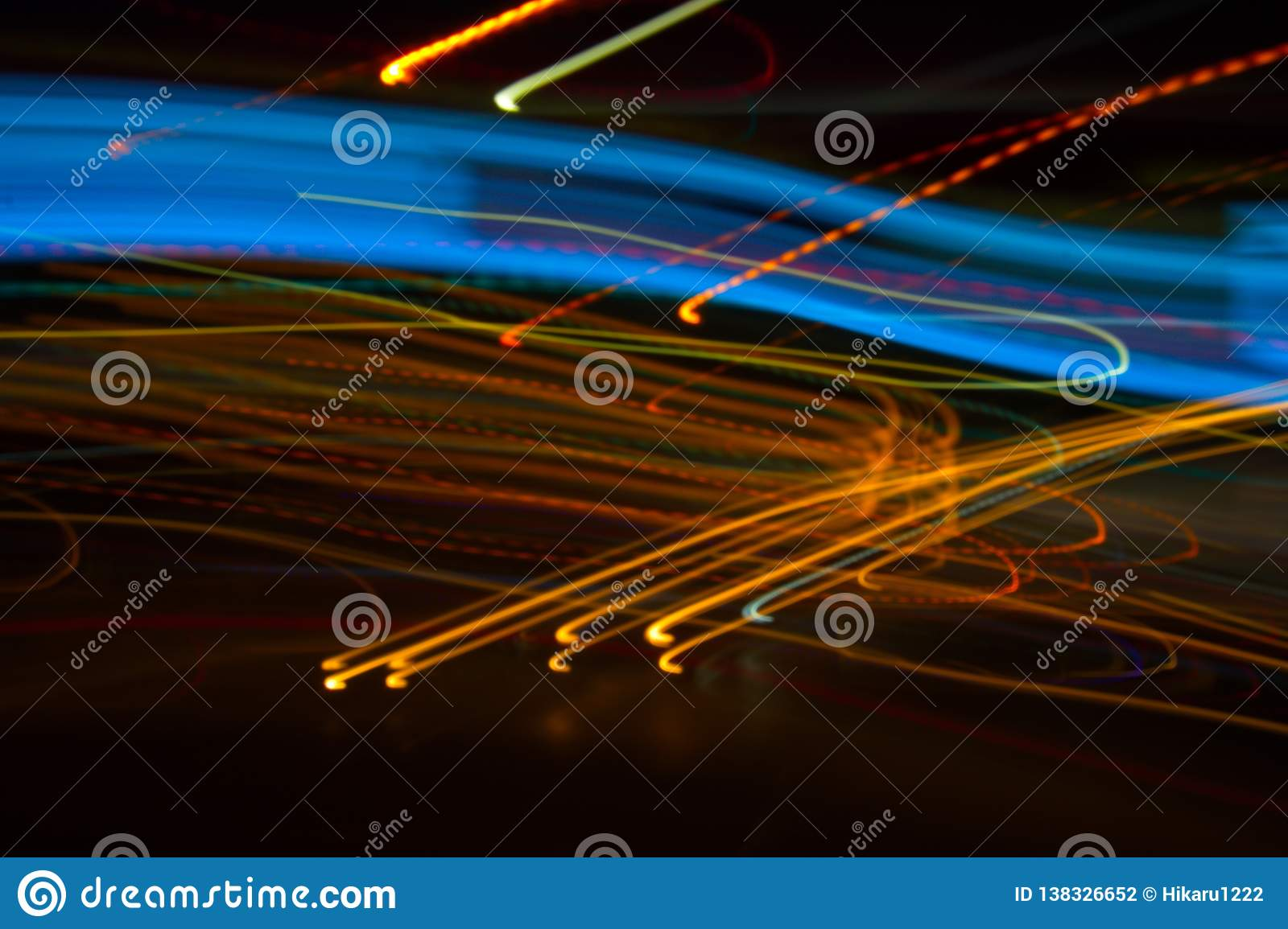 Abstract beautiful light painting photography, waves abstract light on black background