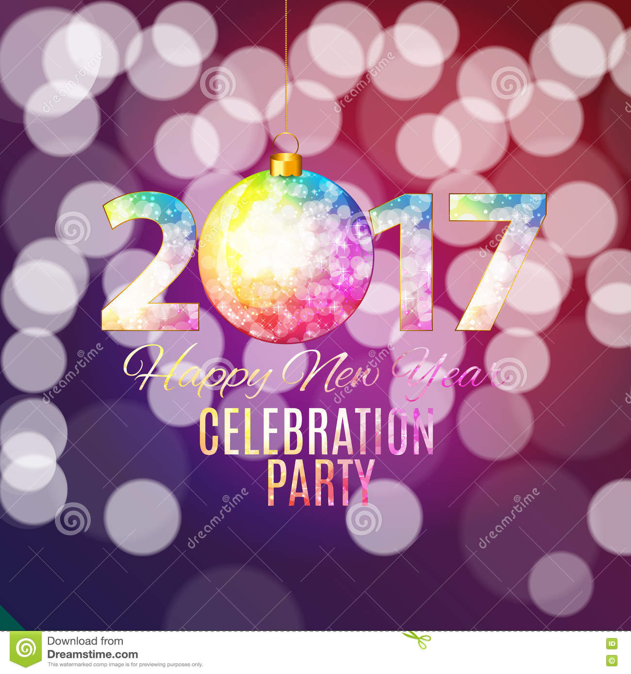abstract beauty 2017 new year celebration poster background vec