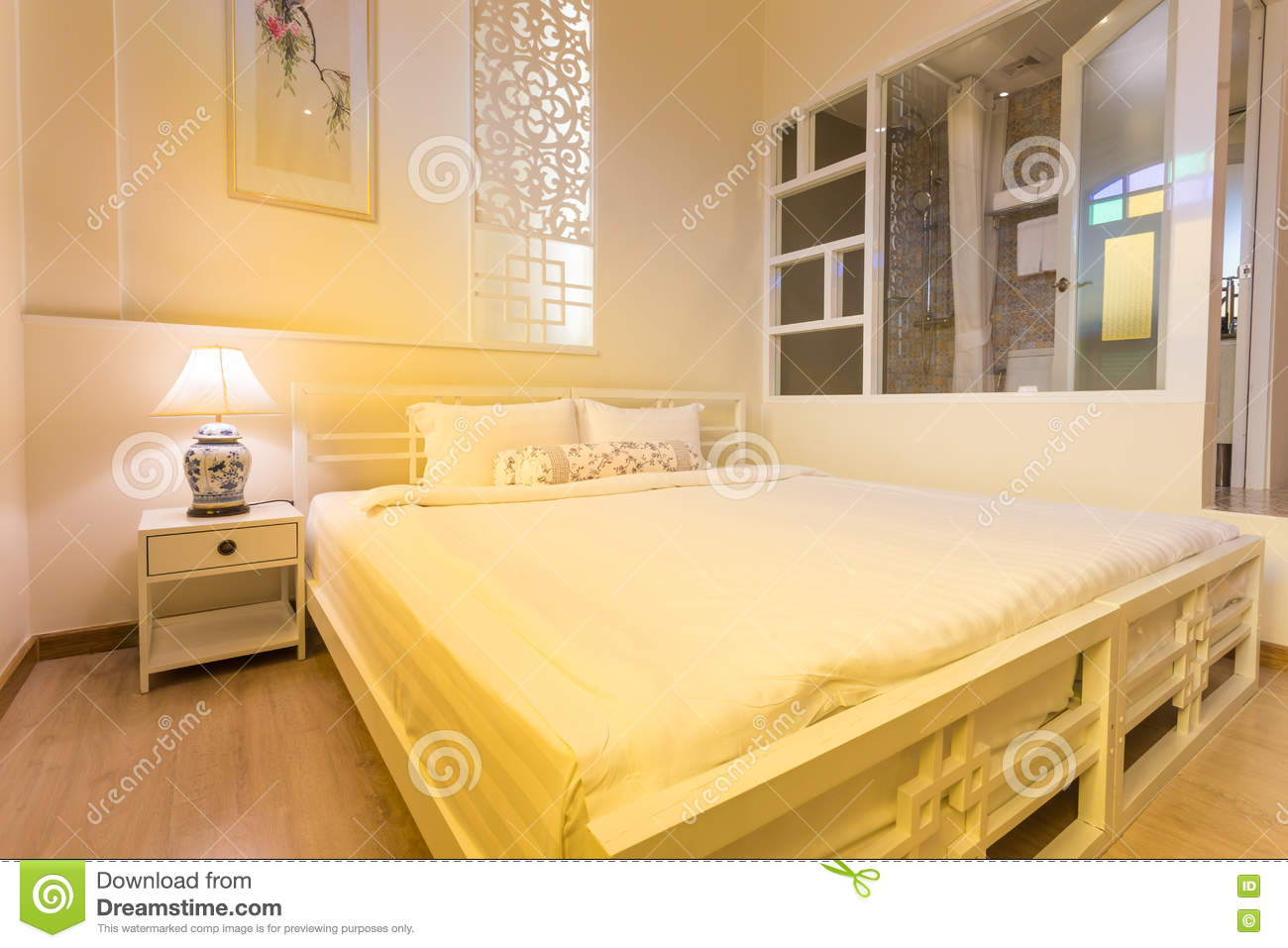 Outstanding Abstract Bedroom In Warm Light Colors Big Comfortable Home Interior And Landscaping Staixmapetitesourisinfo