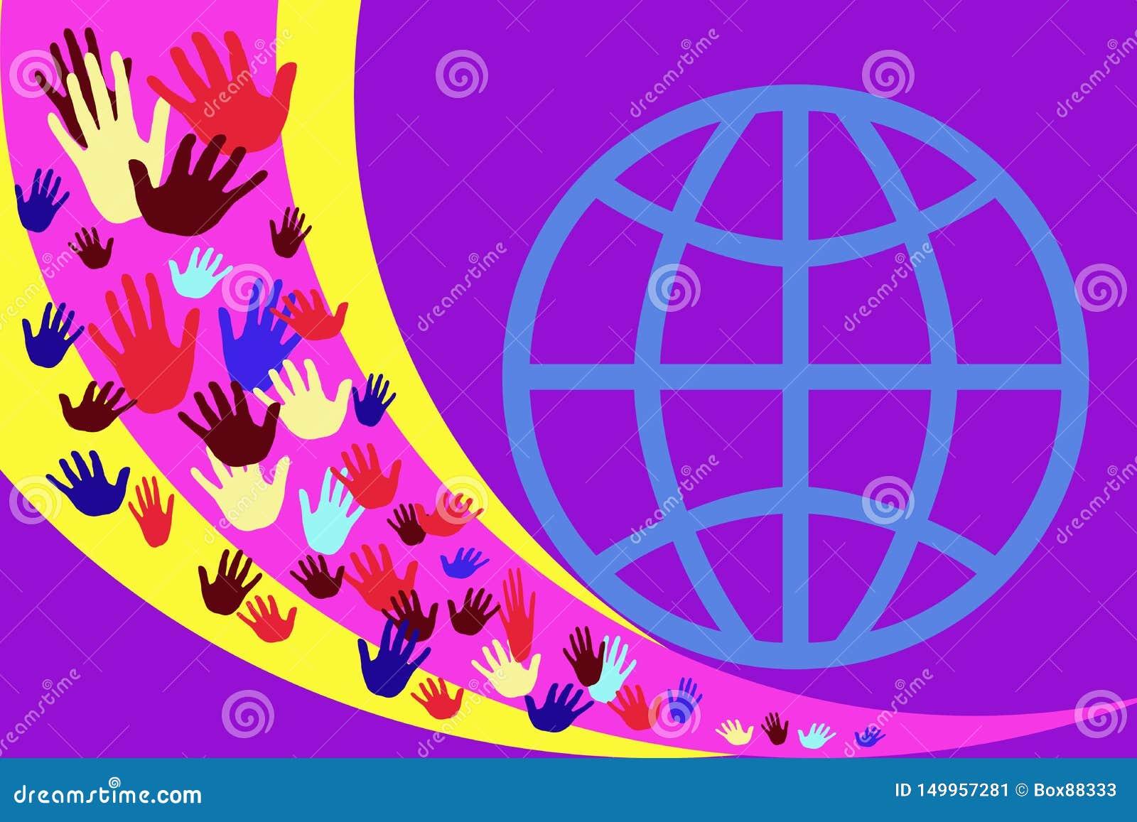 Abstract beeld met multicolored handen op een achtergrond van gele en purpere strepen
