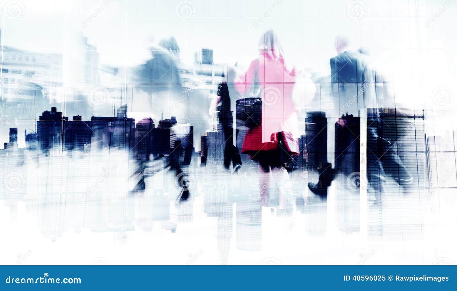 Abstract Beeld van Bedrijfsmensen die op de Straat lopen
