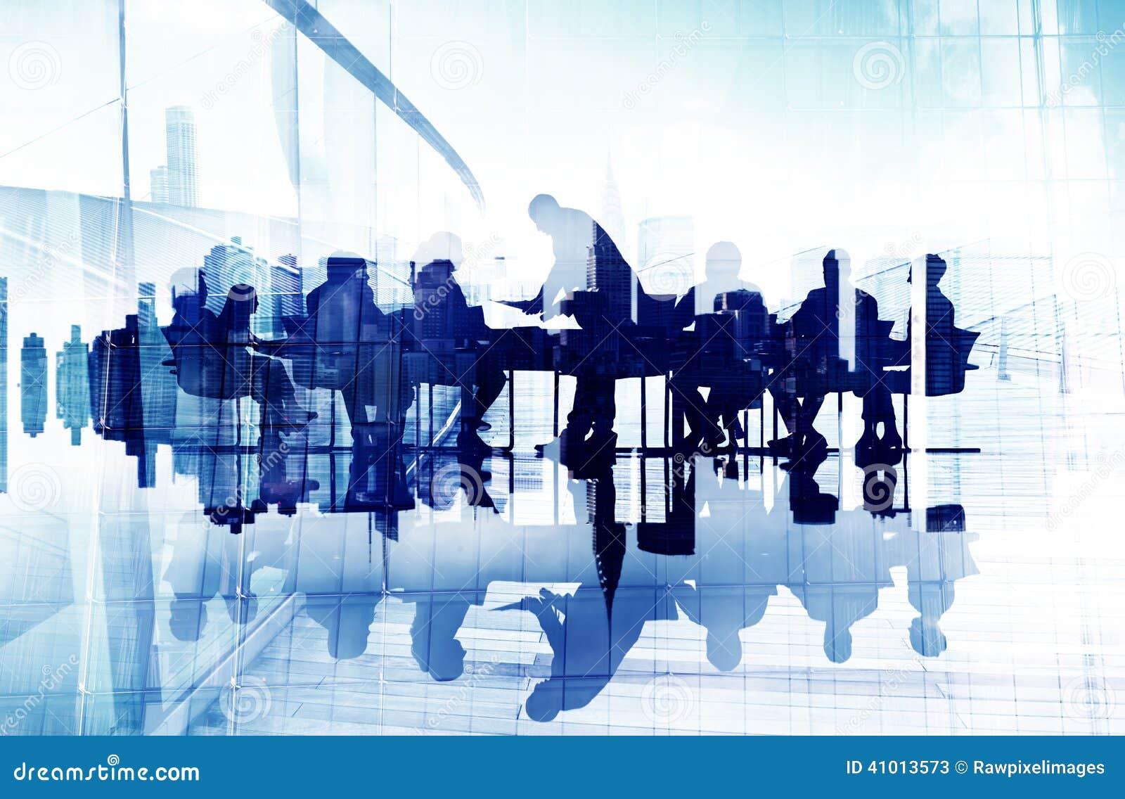 Abstract Beeld van Silhouetten de Bedrijfs van Mensen in een Vergadering