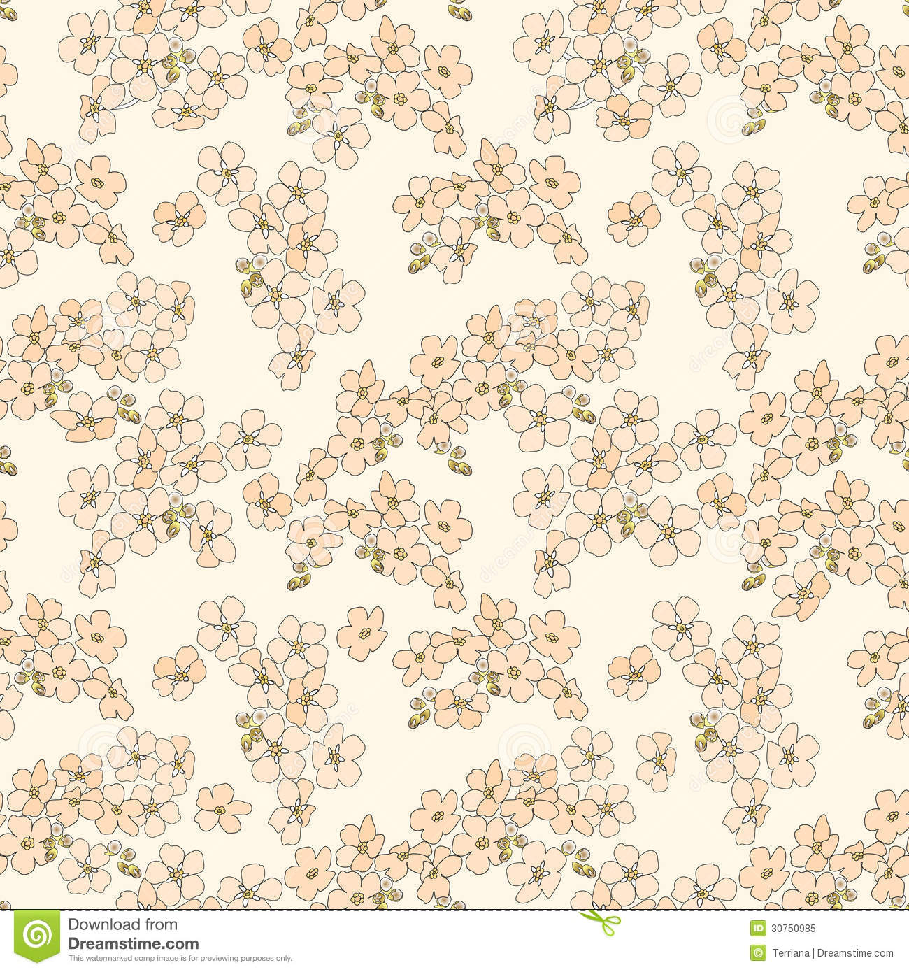 Abstract Beige Floral Seamless Texture Royalty Free Stock ...