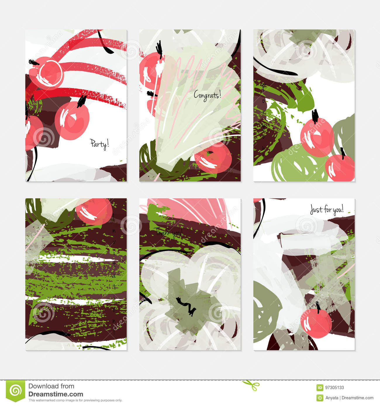 Abstract Berries And Big Flower Marker Brush Stock Vector