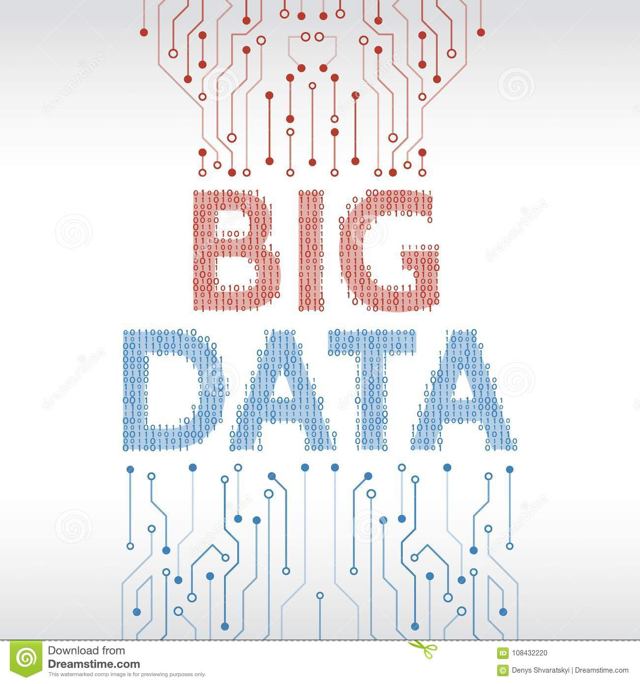Abstract Big Data Background With Binary Code And Circuit Board On Download Stock Vector Illustration