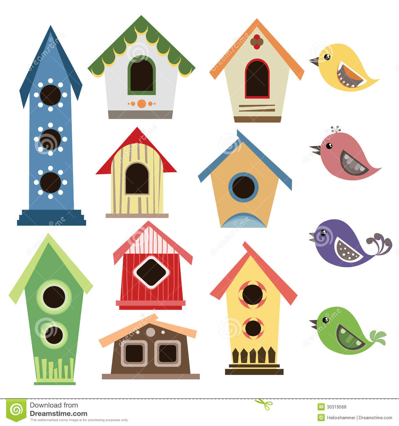 Bird house clipart free download clip art free clip art on - Abstract Birdhouse Set With Birds Royalty Free Stock