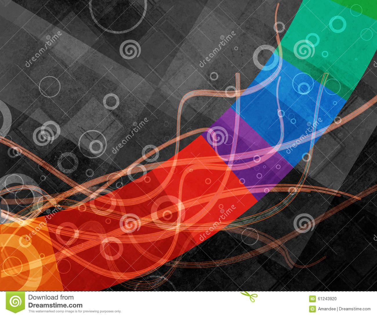 Abstract Black Background Design With Colorful Stripe And