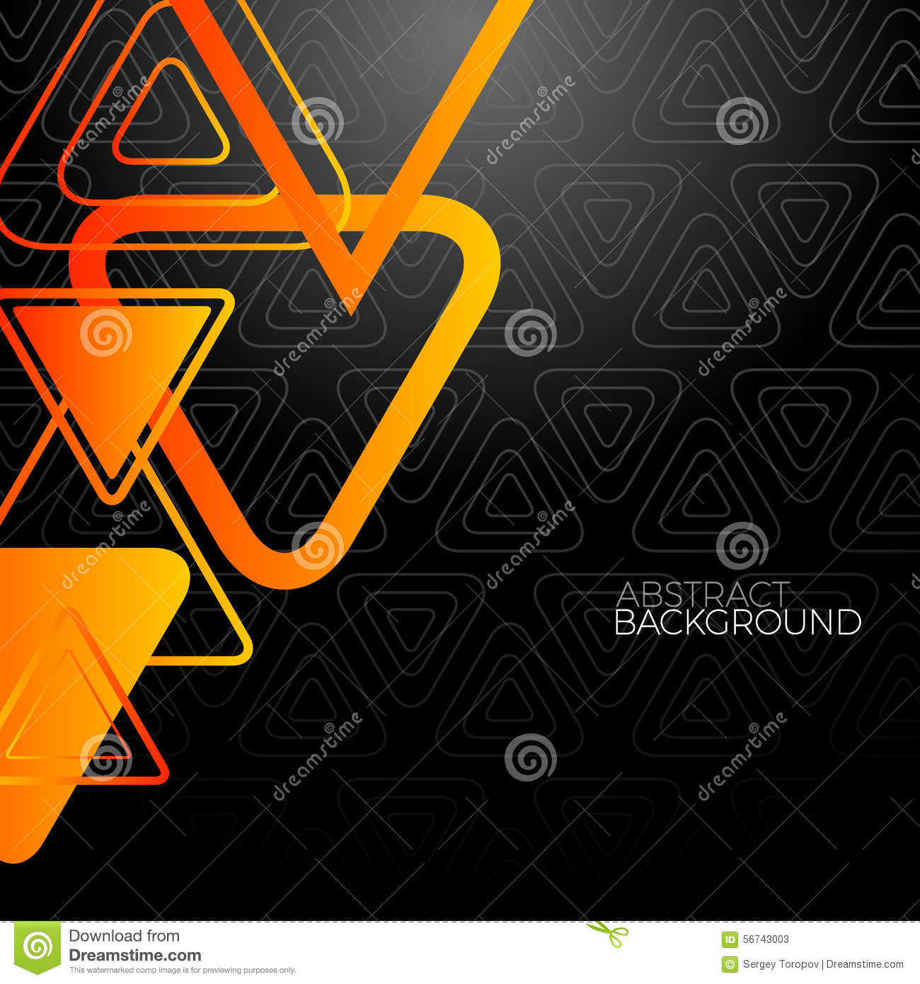 Abstract Black Background With Orange Triangles Stock