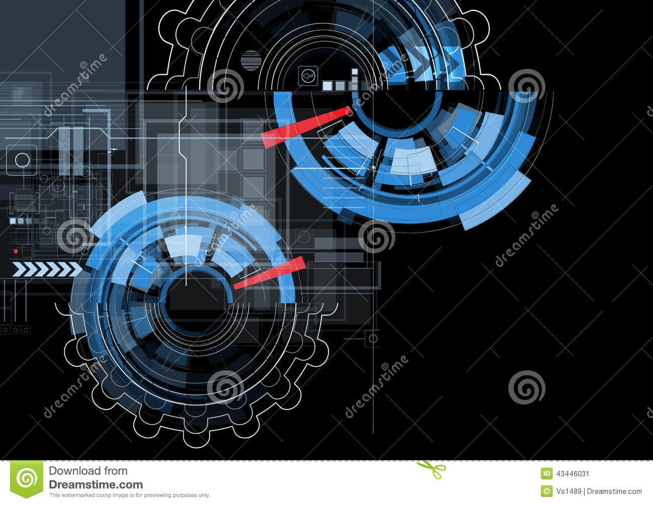 abstract black gear technology background stock vector
