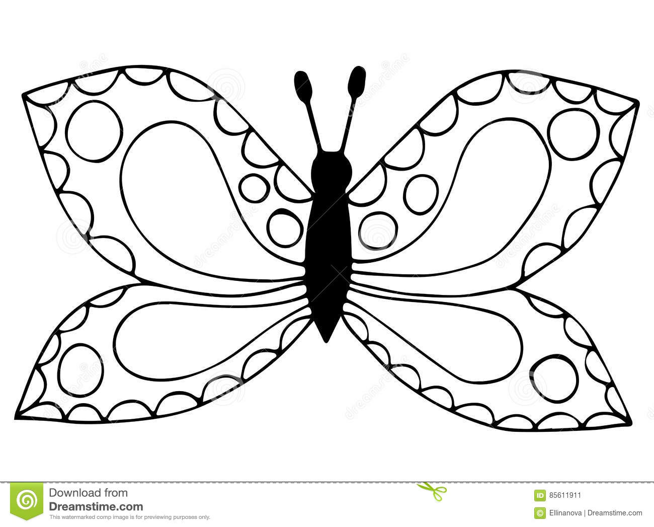 abstract black line butterfly for coloring book tattoo stock