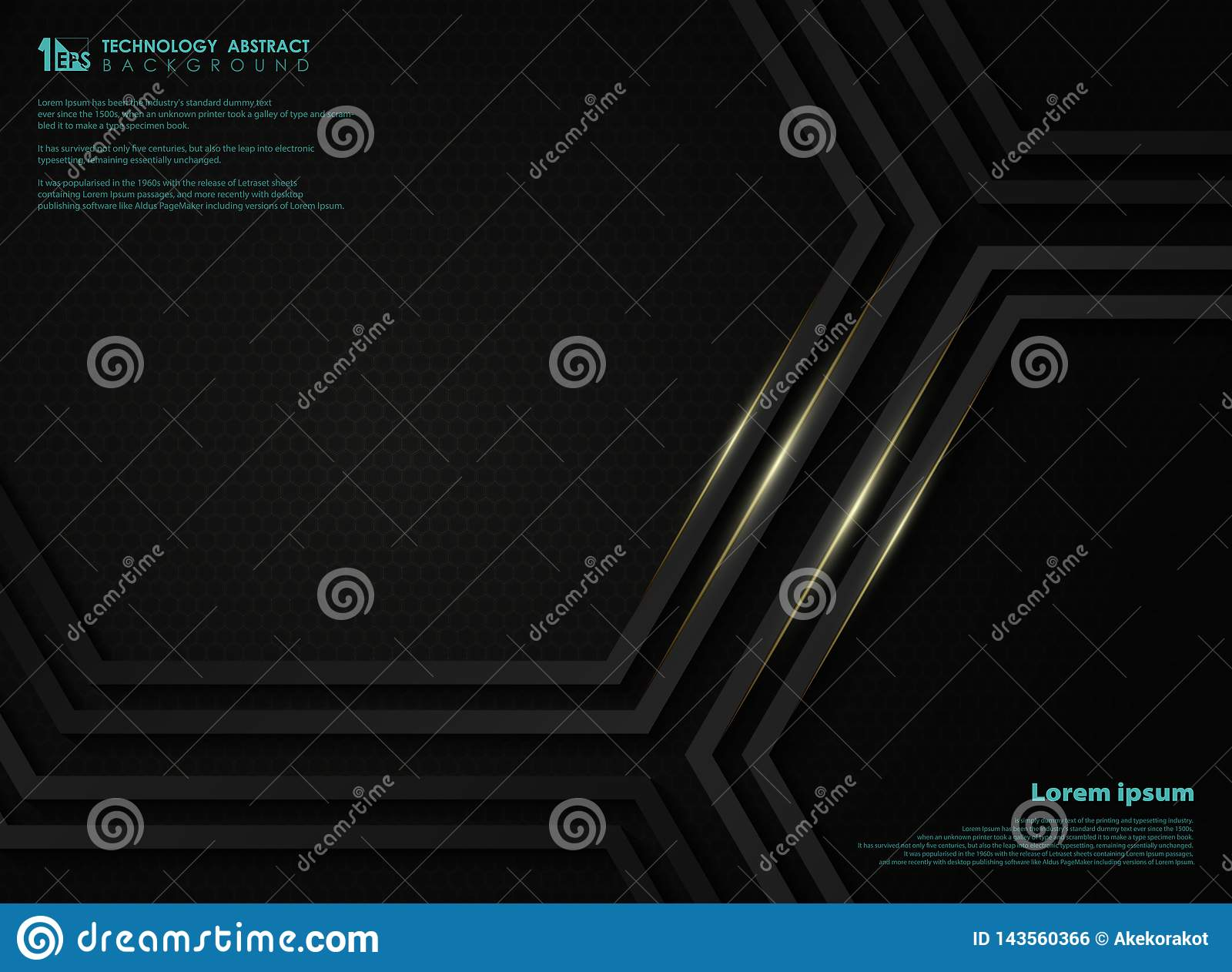 Abstract black metallic technology hexagon background with golden line for presentation. illustration vector eps10
