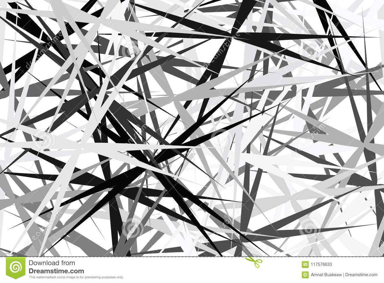 Abstract Black White Art Line Graphic For Fabric Design