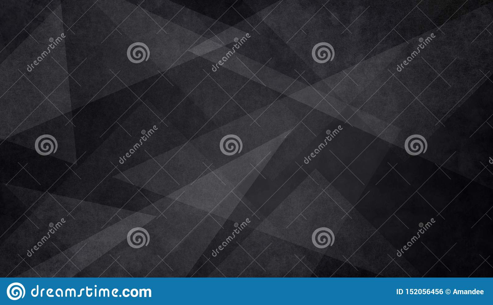 Abstract black and white background with random geometric triangle pattern. Elegant dark gray color with textured light shapes