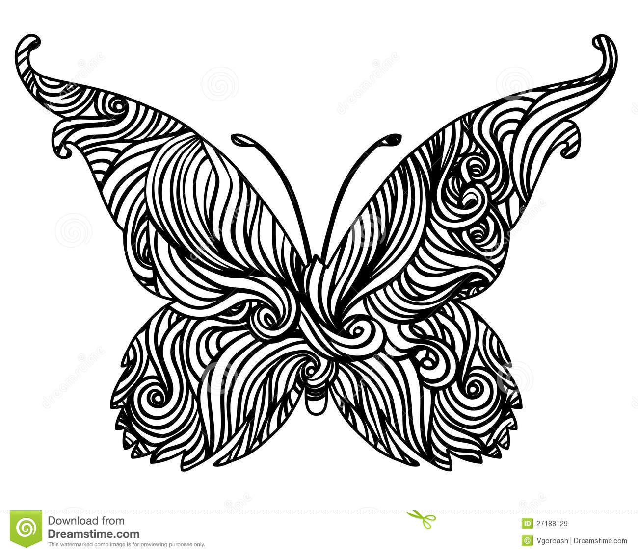 Abstract Black And White Butterfly Design Stock ...