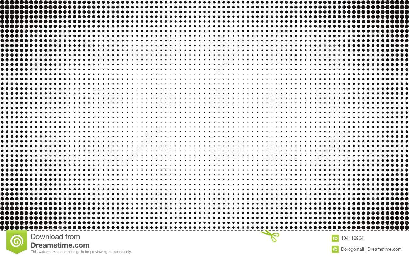 Abstract Black And White Dots Background Comic Pop Art Style Light Effect Gradient With Halftone Border