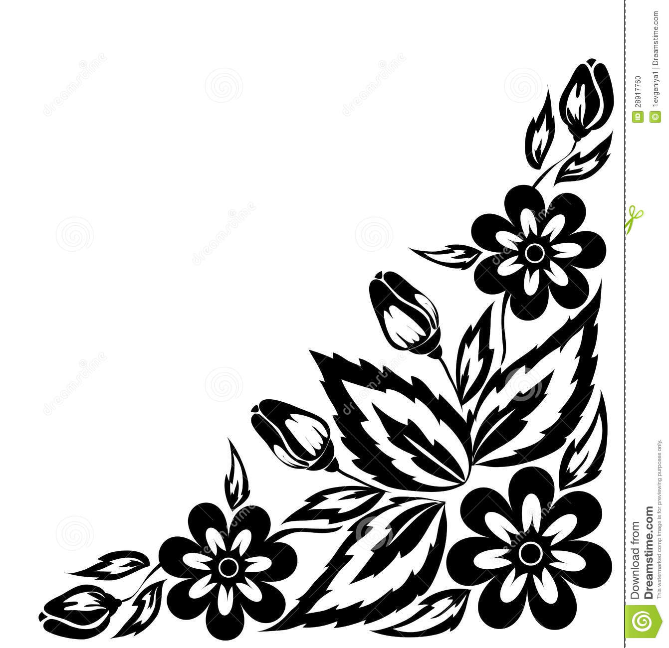 Abstract black and white floral arrangement in the form of border abstract black and white floral arrangement in the form of border angle stock photo mightylinksfo Image collections