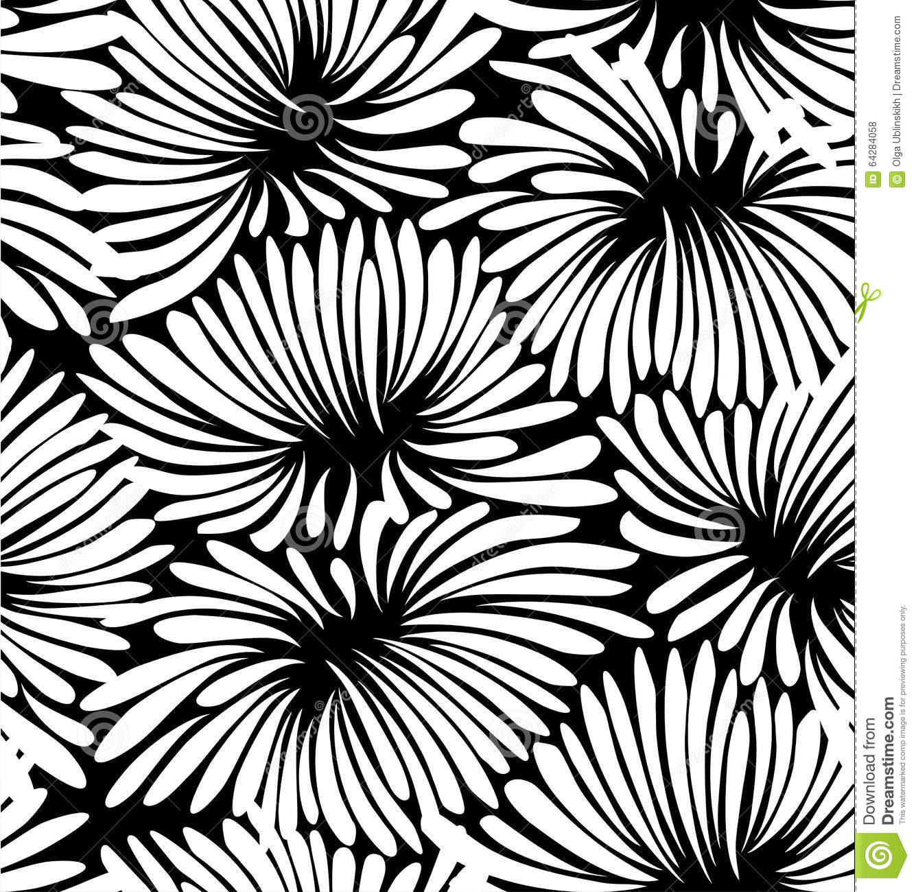 Abstract Black And White Floral Background Illustration 64284058