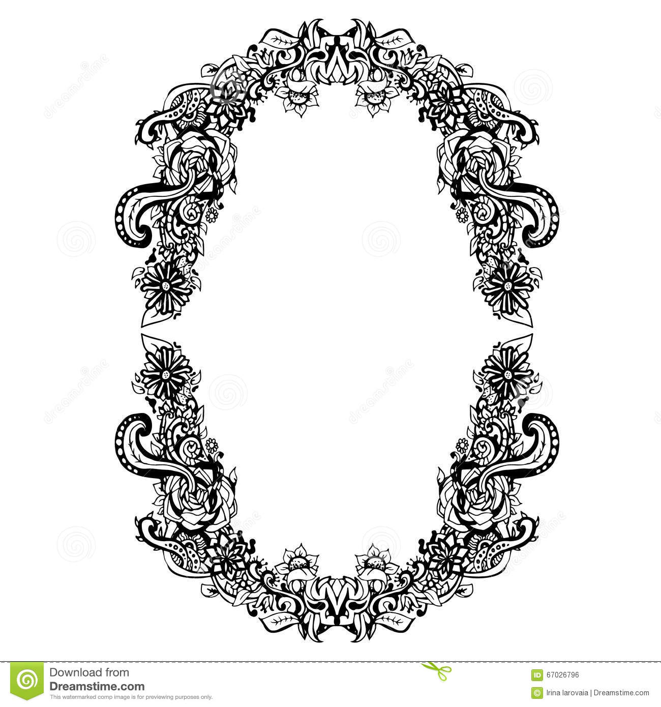 Abstract Black And White Floral Frame Vector Illustration Graphic Doodle