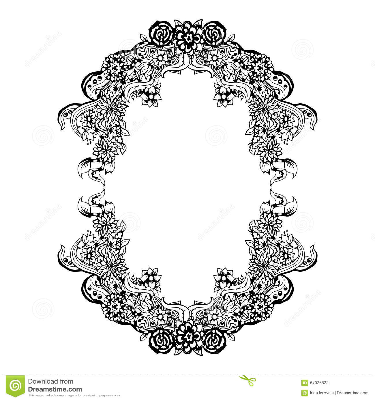 Abstract Black And White Floral Frame Vector Illustration Card Design
