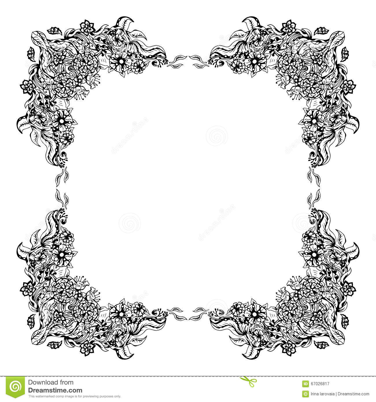 Abstract Black And White Floral Frame Vector Illustration Cloth Garment