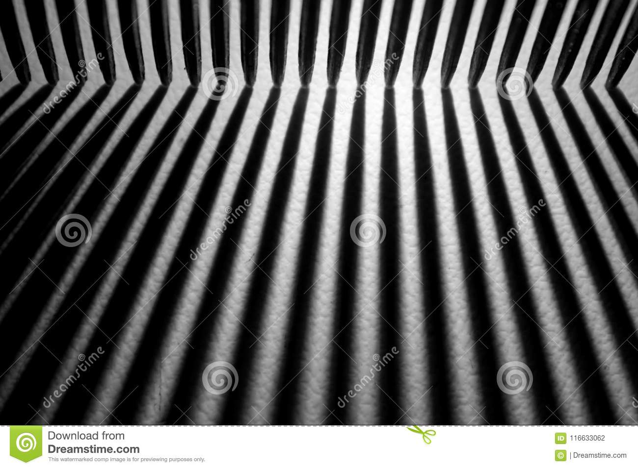 Abstract black and white lines and shadows on a white background