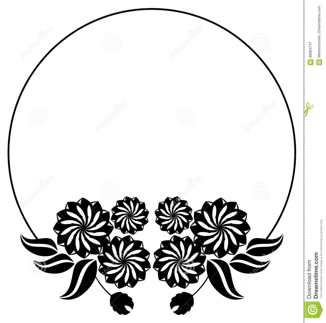 Abstract Black And White Ornament With Decorative Flowers Raster