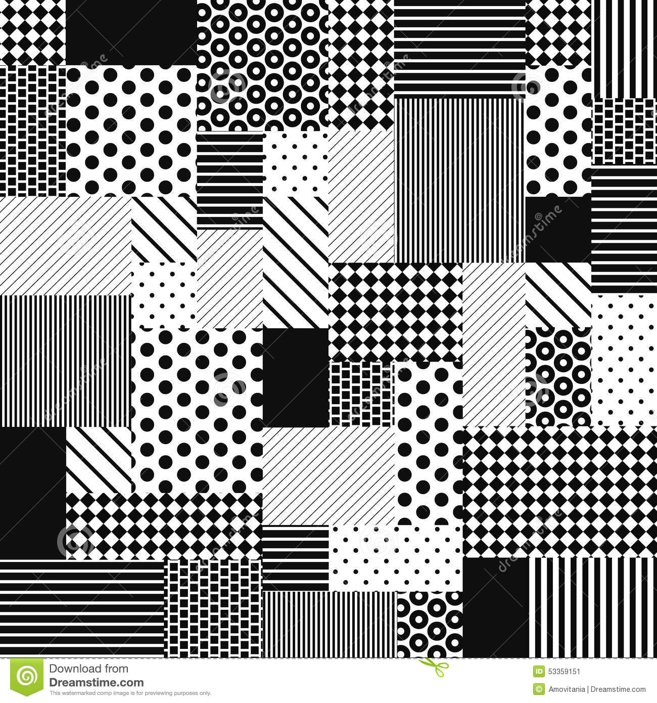 Black And White Line Designs : Abstract black and white patchwork stock vector image