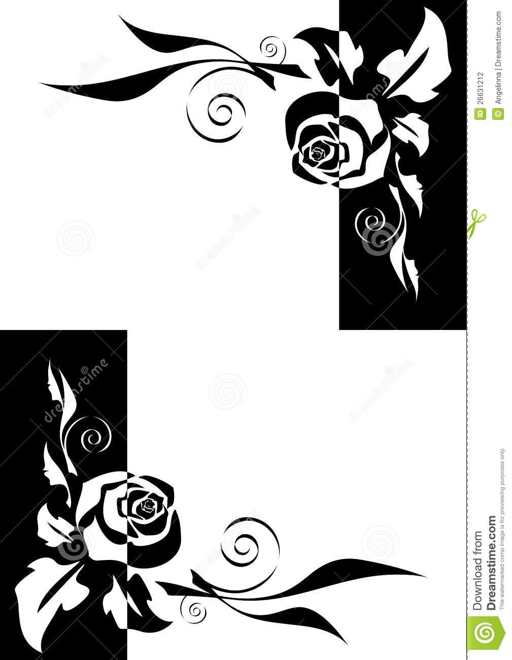 Abstract Black And White Roses Corners Stock Vector Illustration