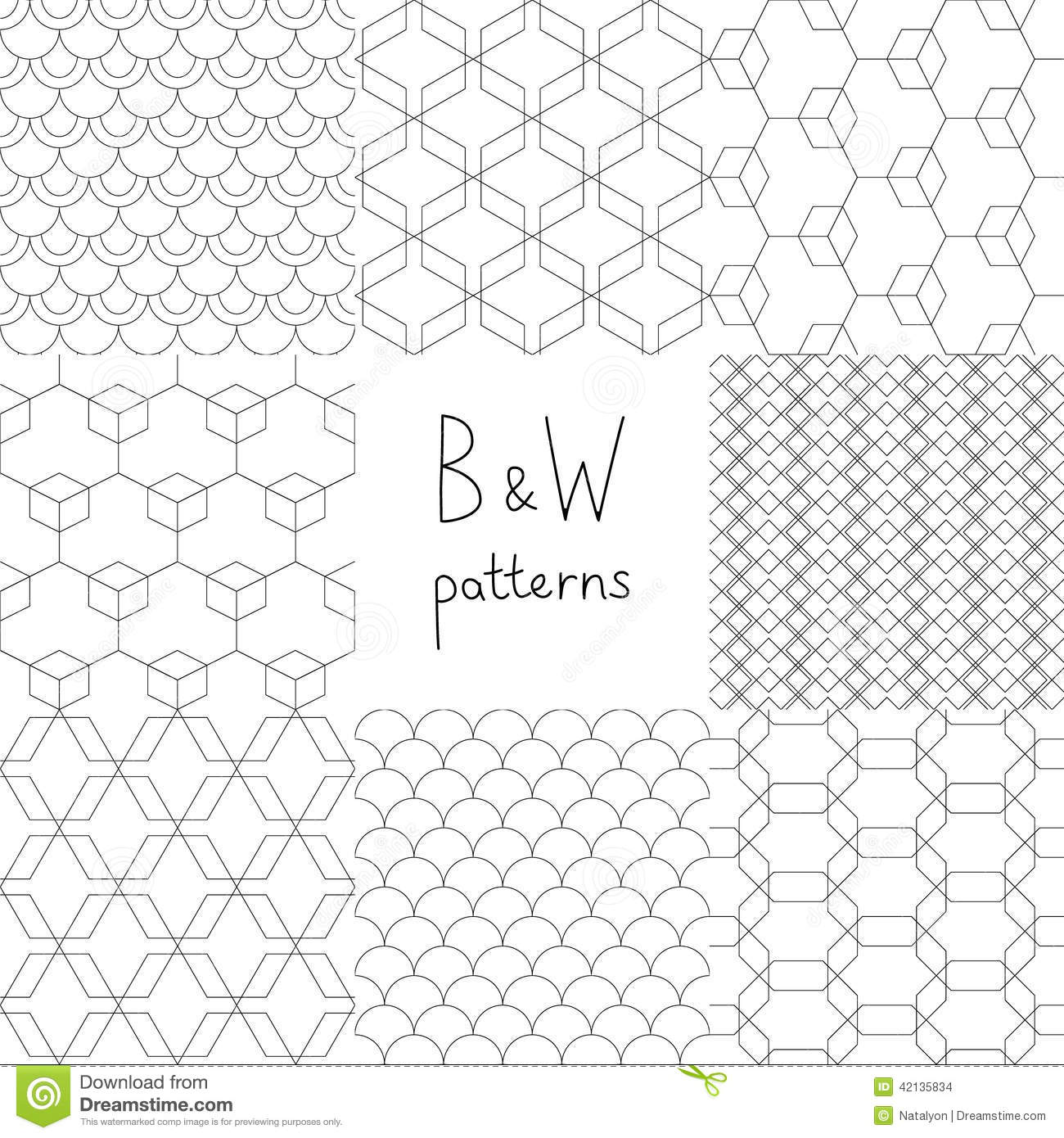 Abstract Black And White Simple Geometric Seamless