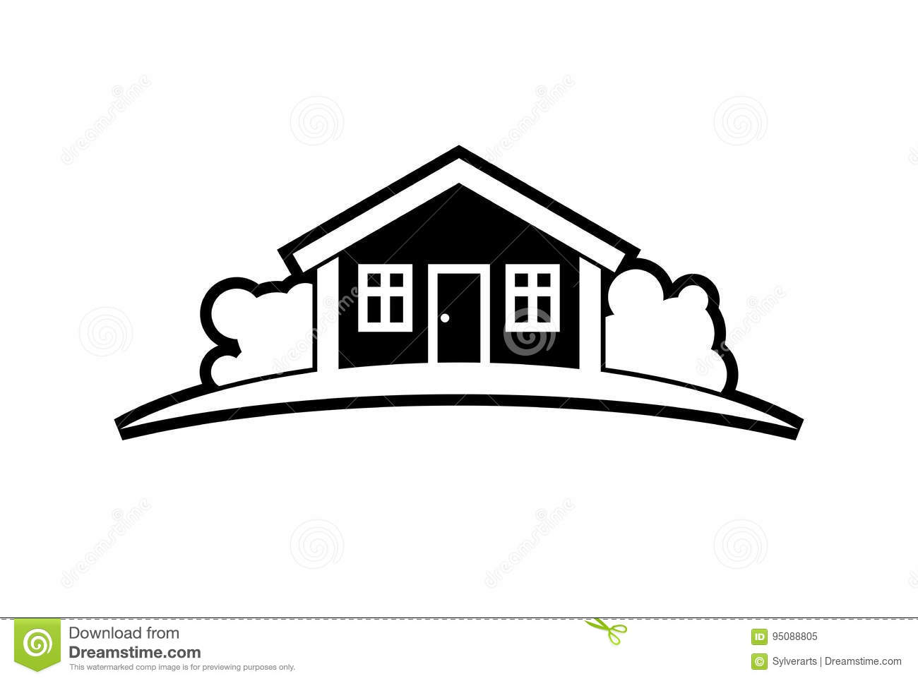 Abstract Black And White Simple Vector House With Horizon