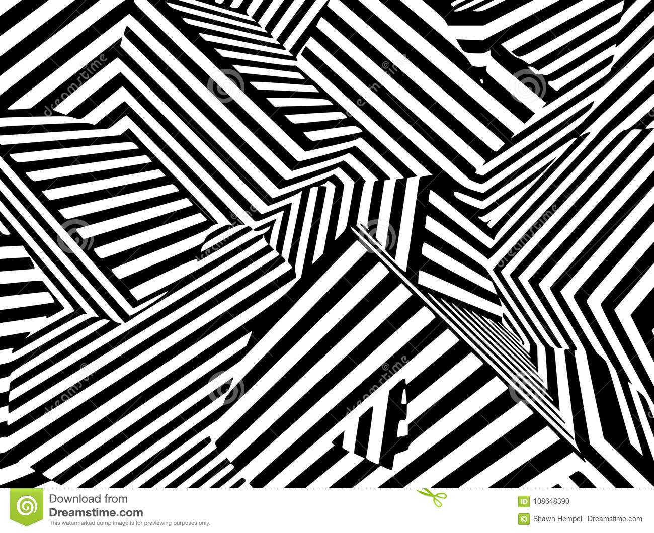 Abstract Black And White Striped Optical Illusion Three Dimensional