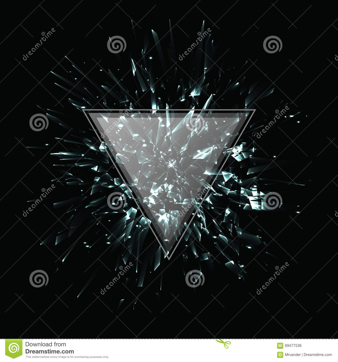Abstract black and white vector explosion. Triangular frame