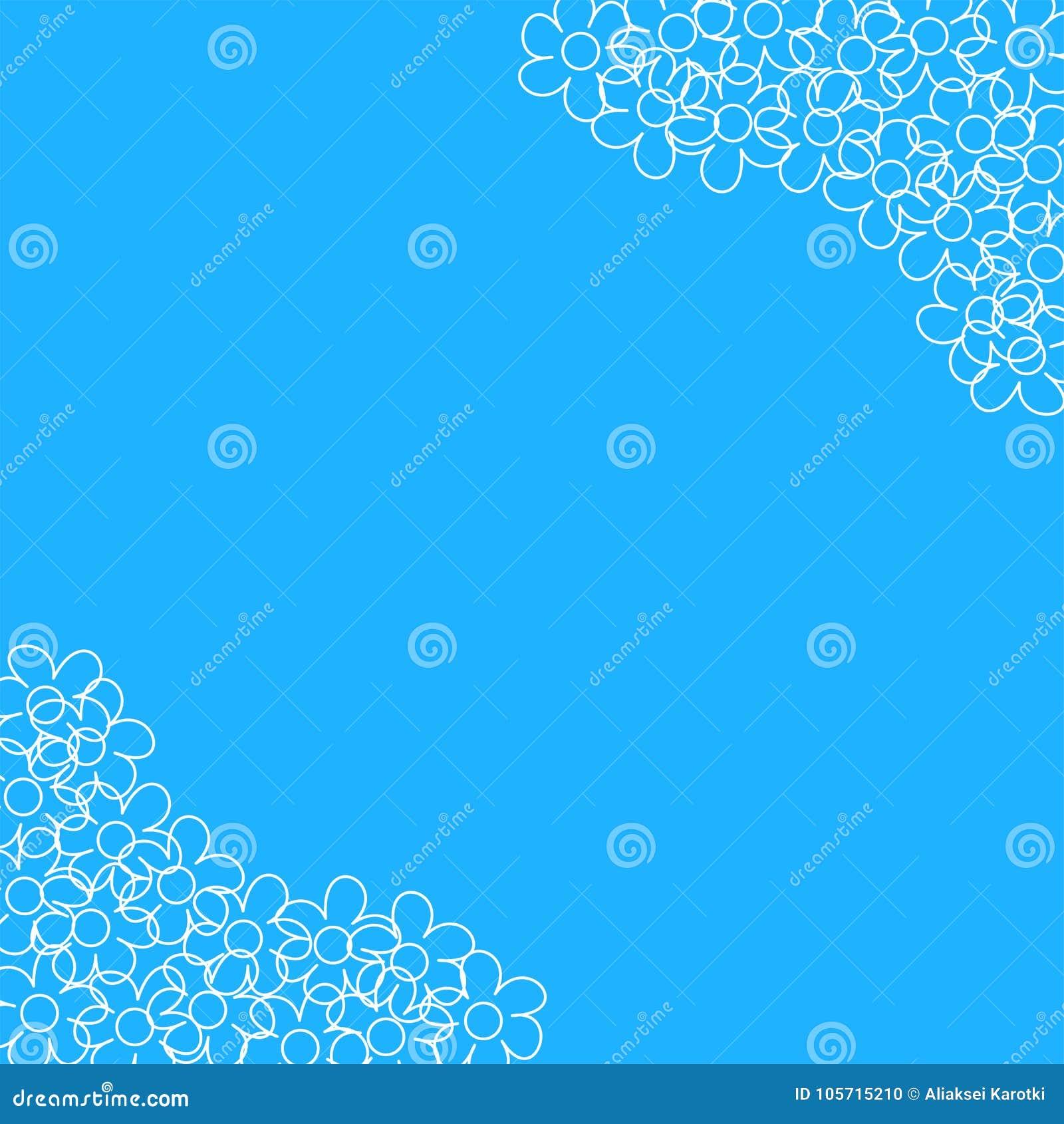 Abstract Bloemenkader Op Een Blauwe Achtergrond Voor Drukken