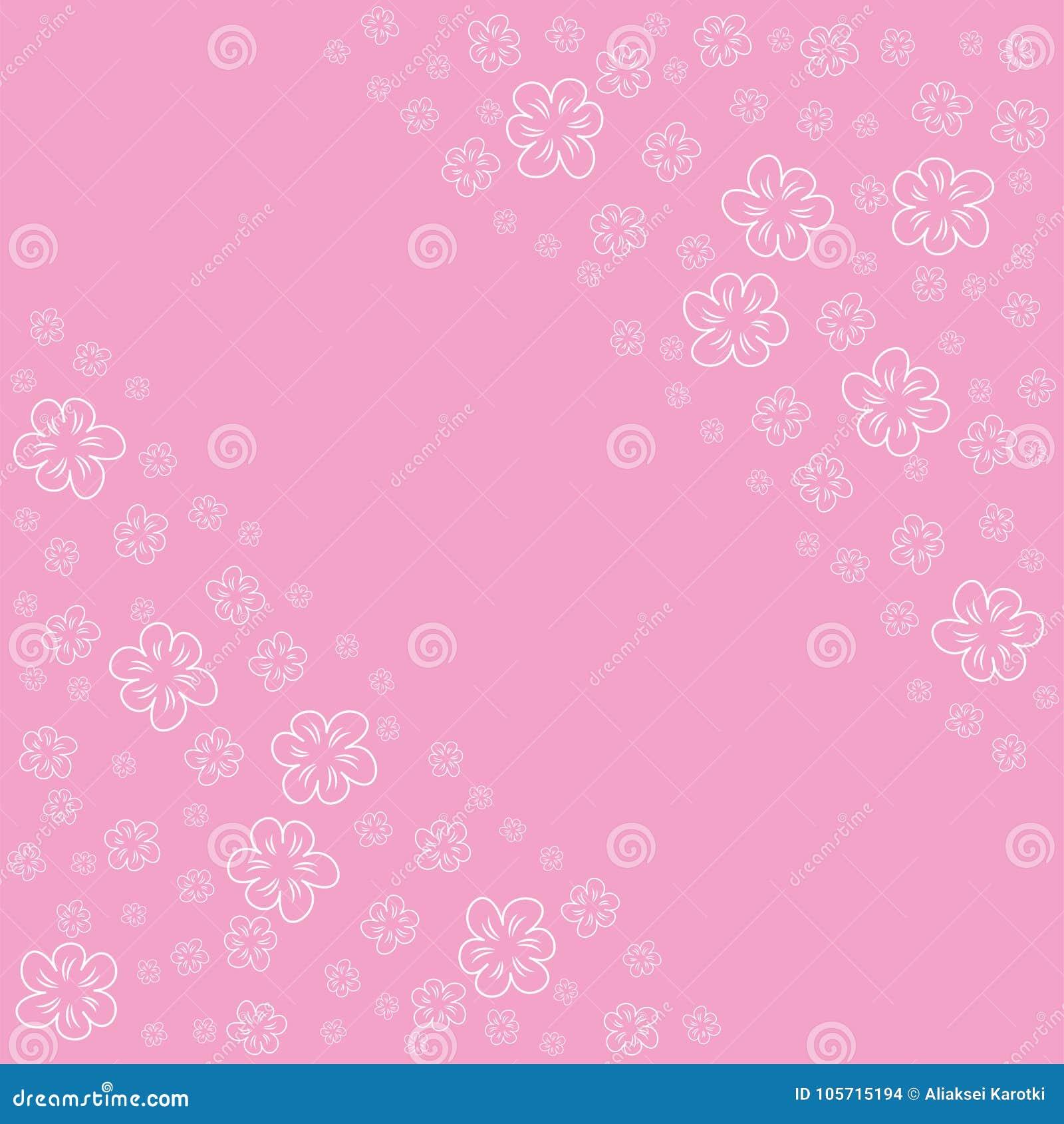 Abstract Bloemenkader Op Een Roze Achtergrond Voor Drukken