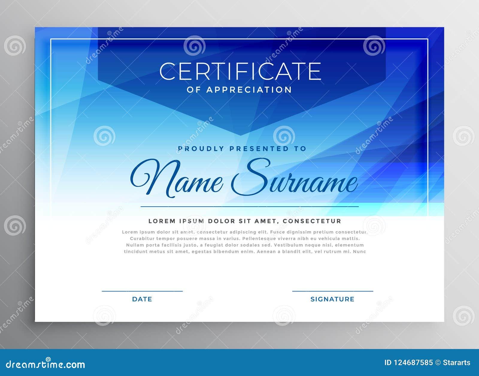 Abstract Blue Award Certificate Design Template Stock Vector