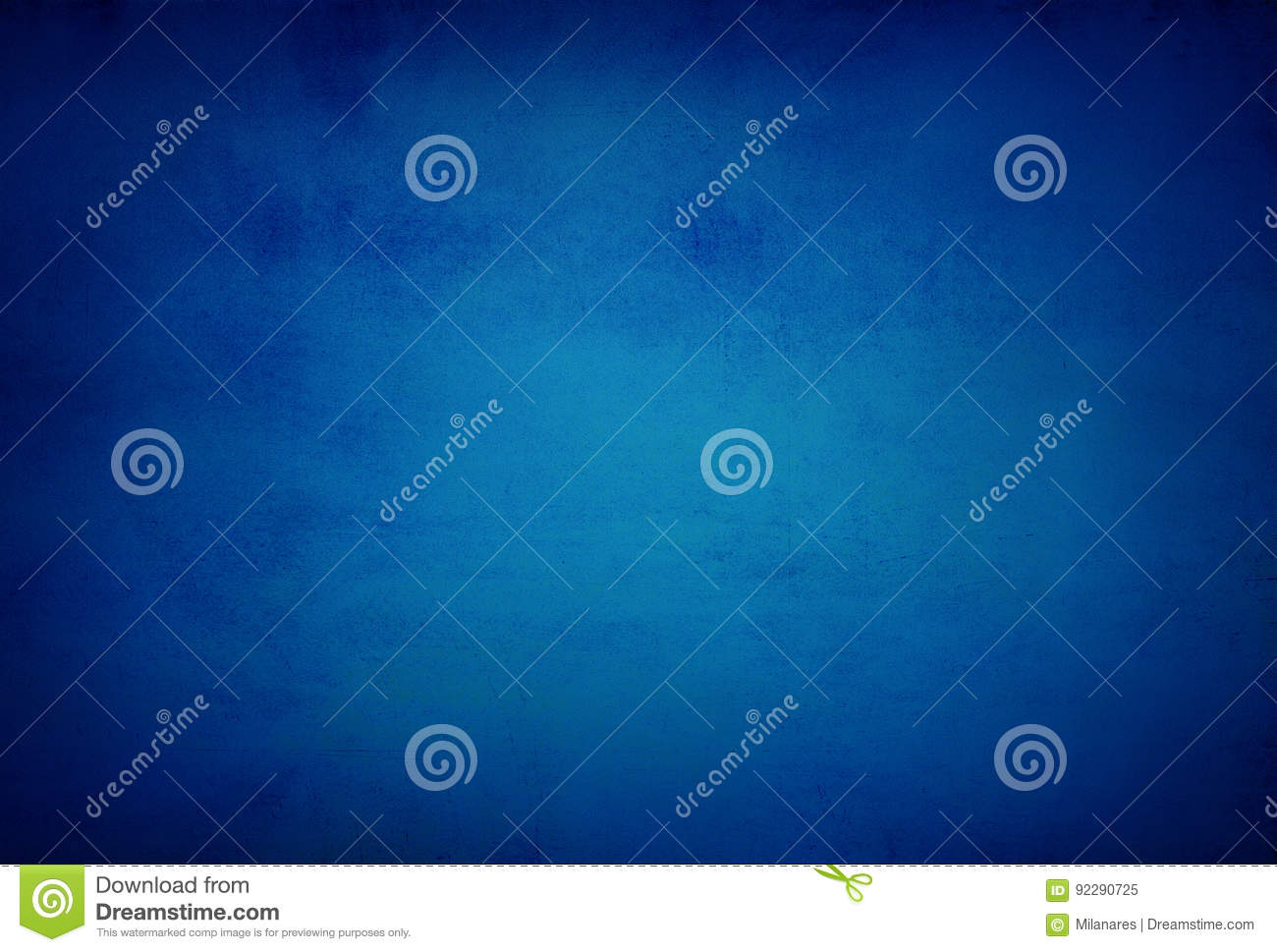 abstract blue background or dark paper with bright center spotlight and black vignette border frame with vintage grunge