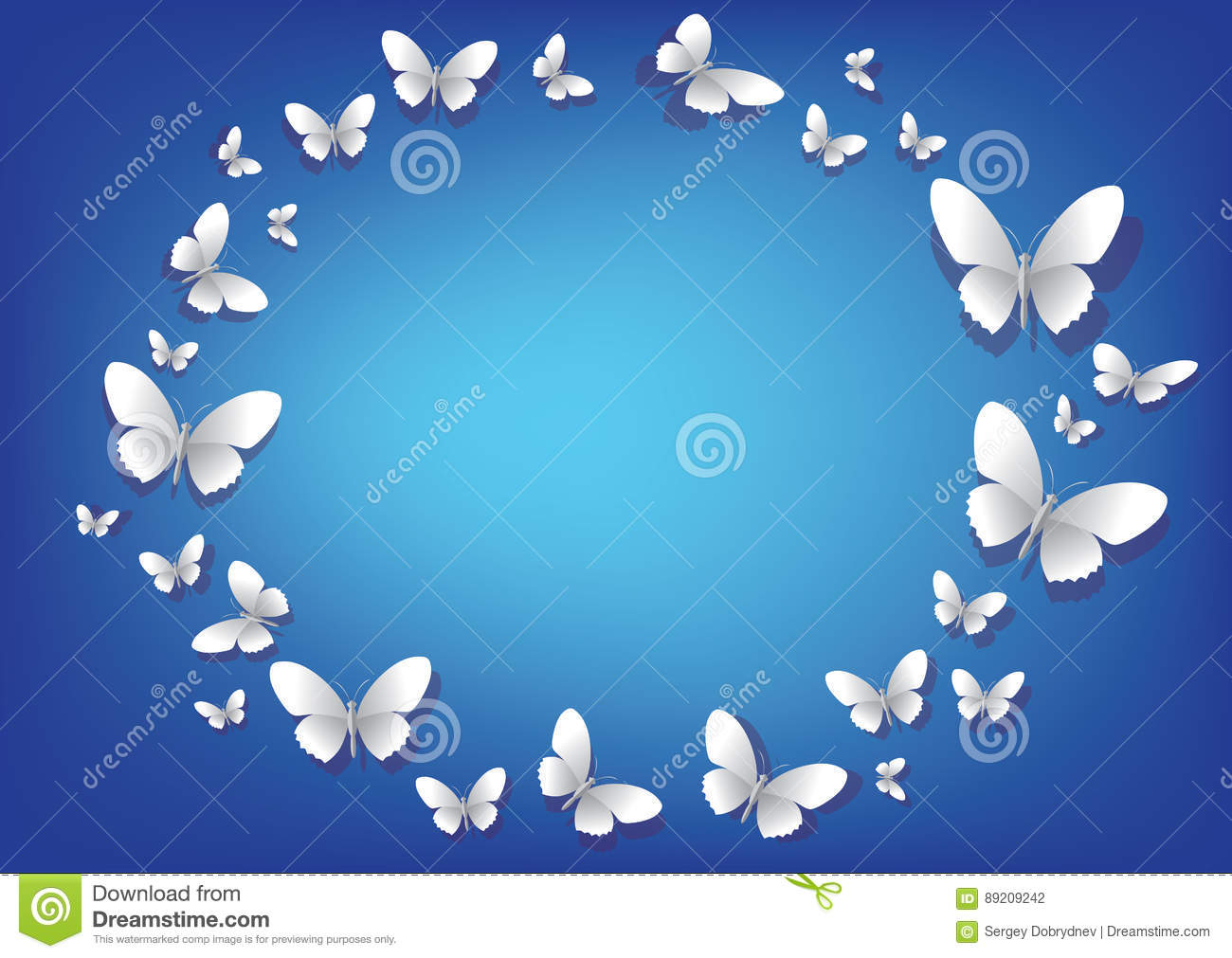 Abstract blue background with white paper butterflies for White paper butterflies