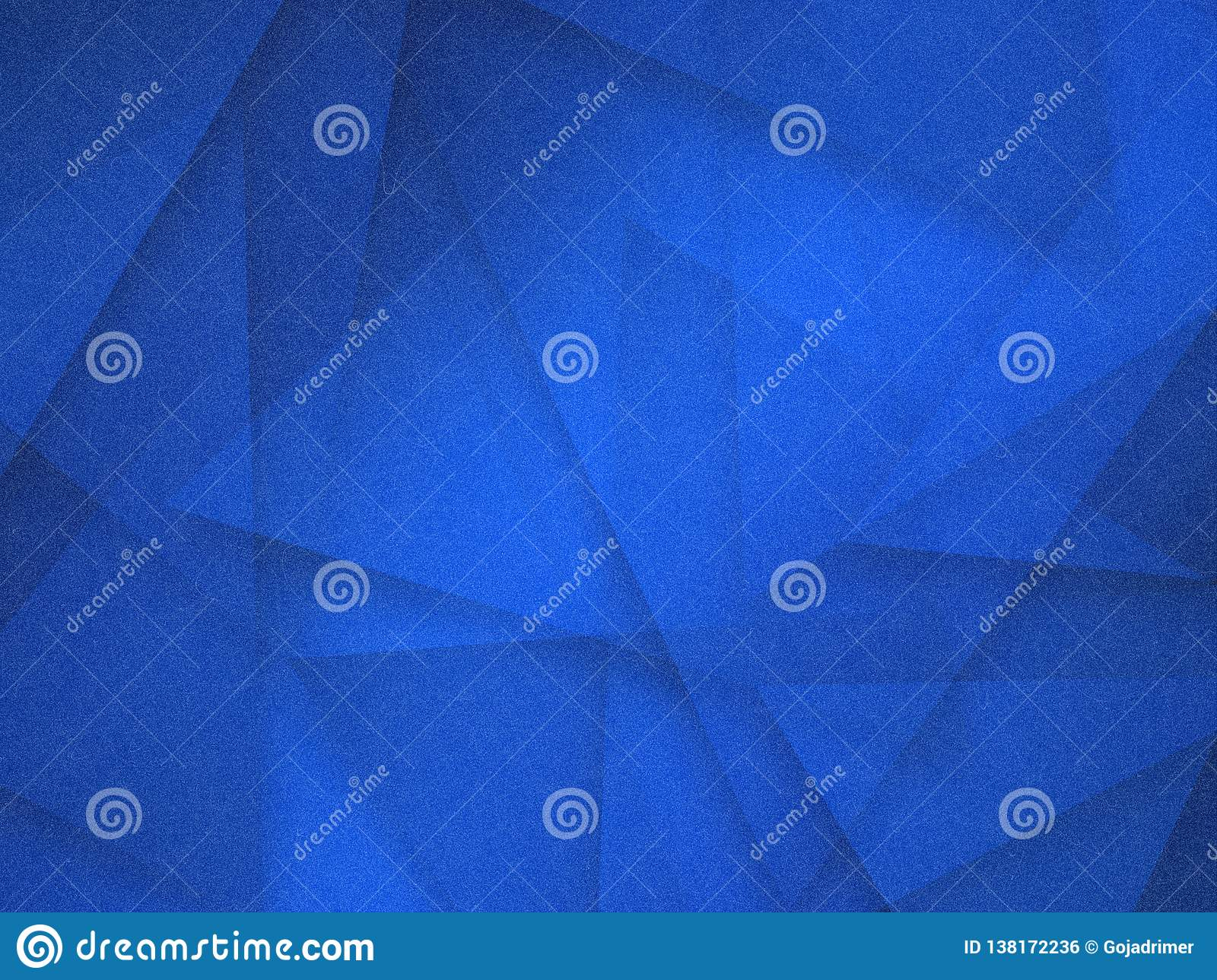Abstract blue background with white transparent triangle layers in random pattern, with grainy scratch grunge texture