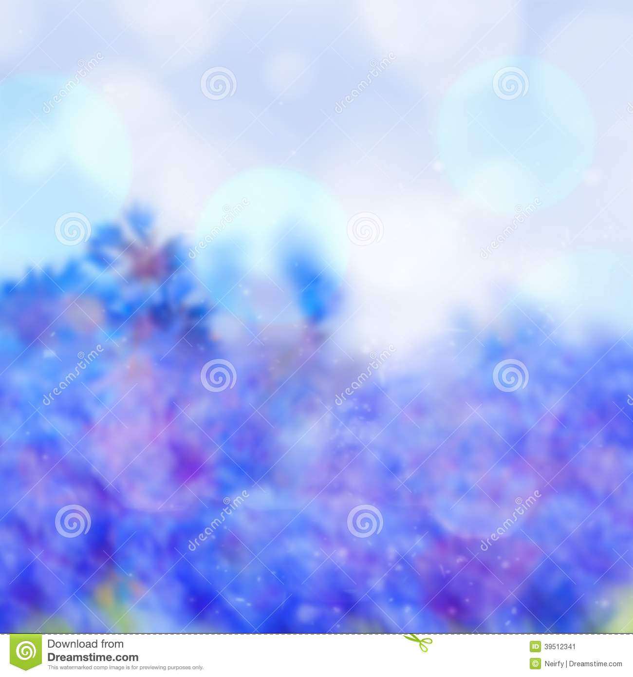 Abstract blue bokeh background with bubbles
