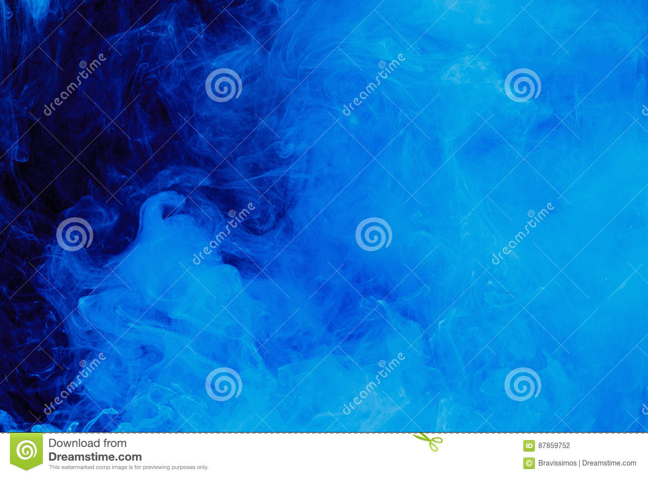 Abstract blue cloud pattern of white smoke on a black background.