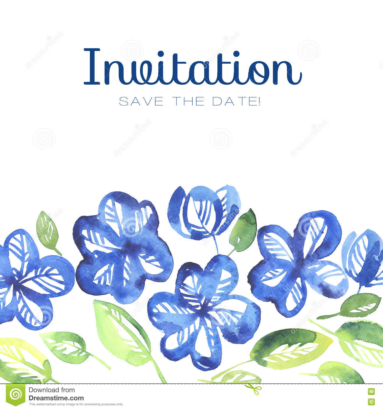 Abstract Blue Color Floral Invitation Template Stock Illustration