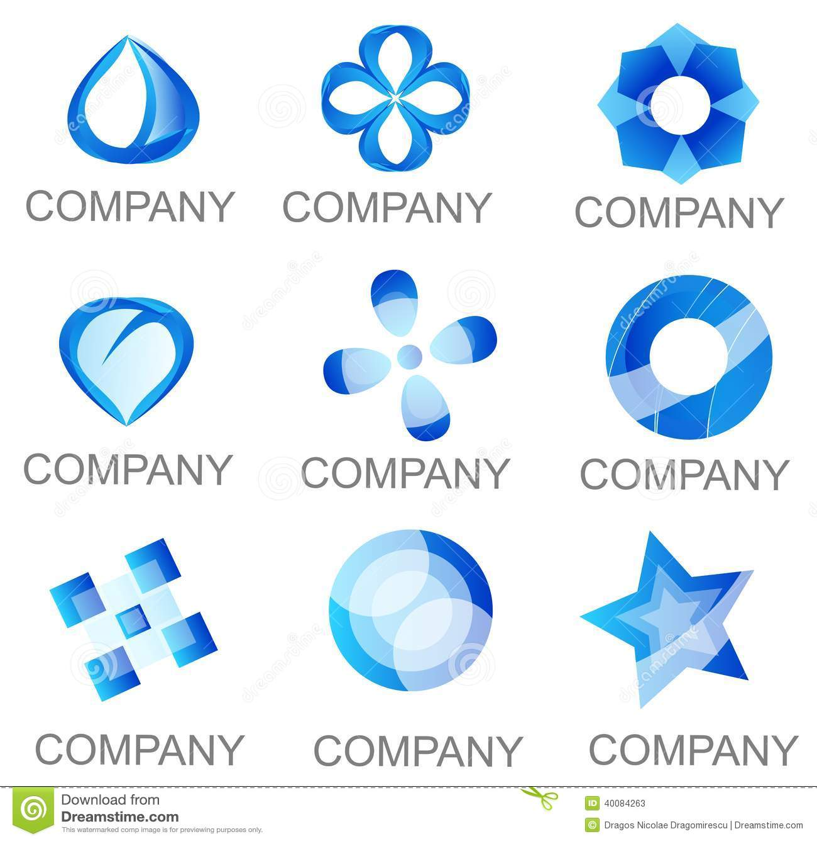 abstract blue company logo set icons stock illustration