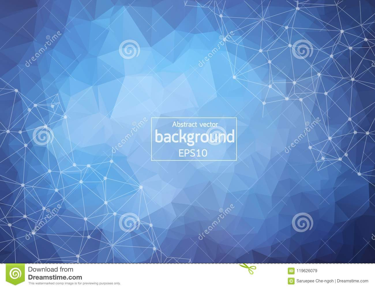 Abstract Blue Dark Geometric Polygonal background molecule and communication. Connected lines with dots. Concept of the science,