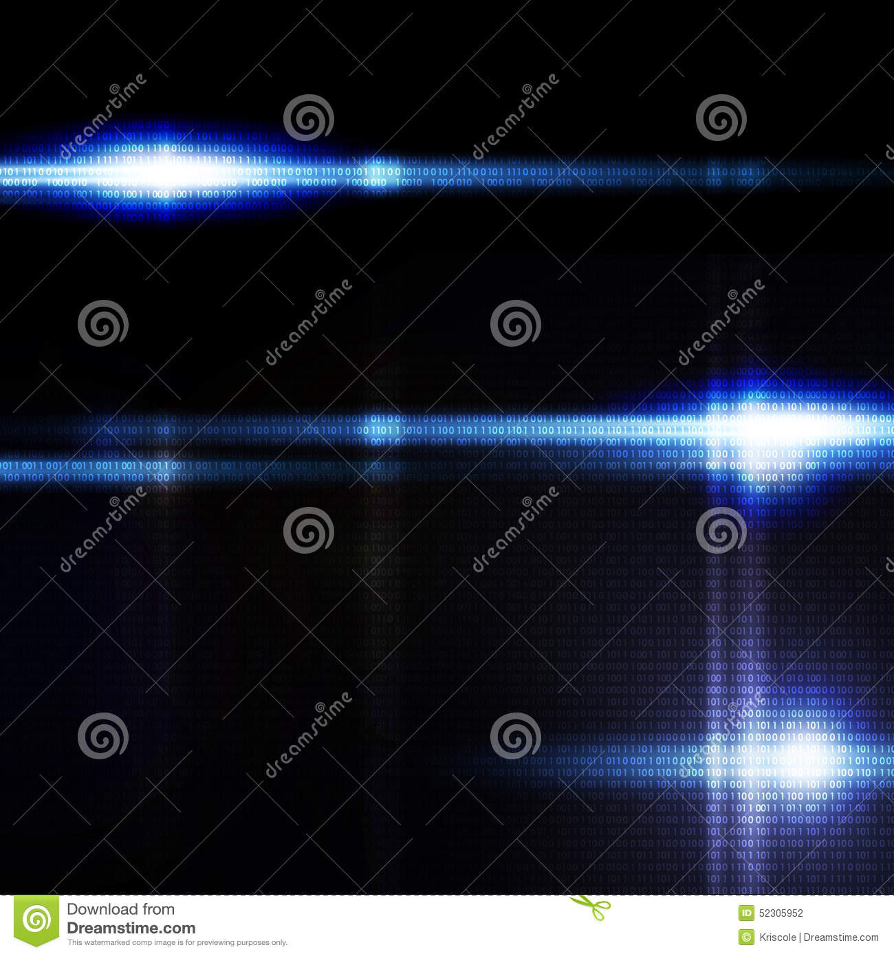 Abstract Blue Digital Background, The Flash On Stock Photo