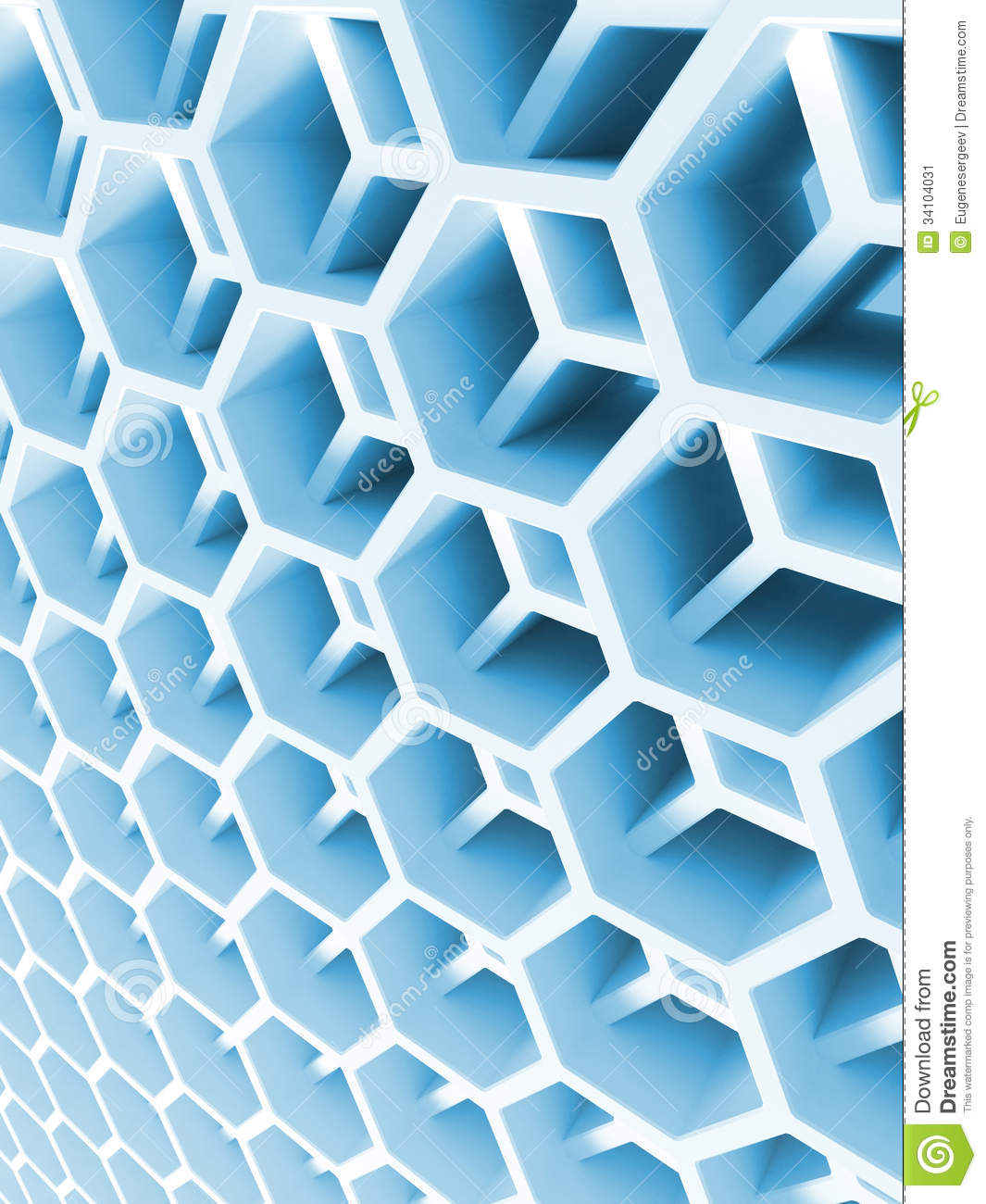 abstract blue double honeycomb structure stock image