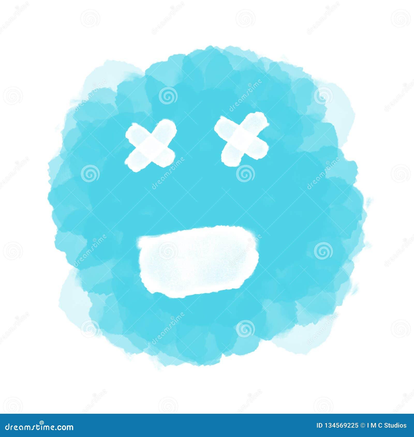 Abstract blue emoji/emoticon on white